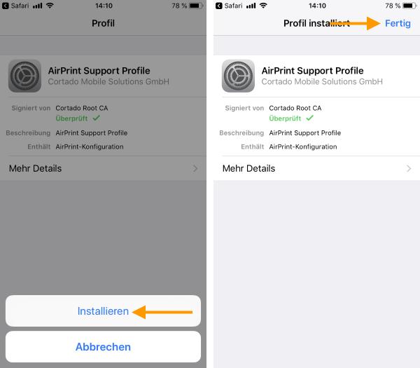 AirPrint-Profil installieren