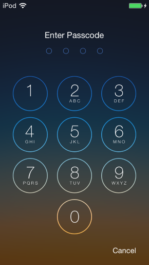 Lock Screen: Enter passcode to unlock (for iOS devices only)