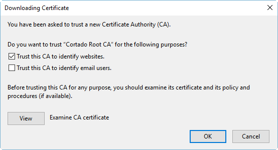 select Trust this CA to identify websites