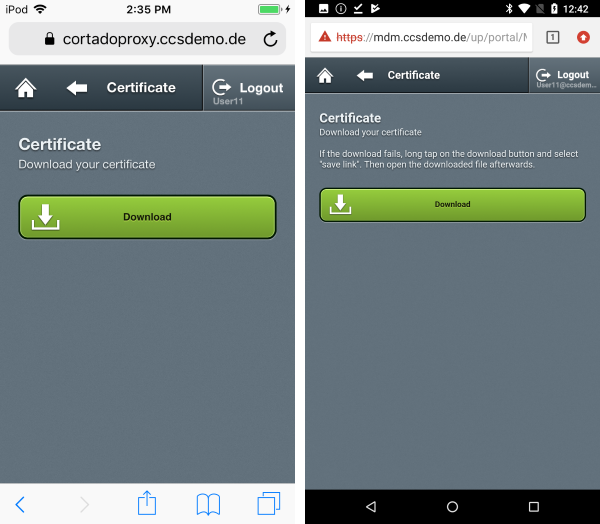 download security certificate (left iOS, right Android)