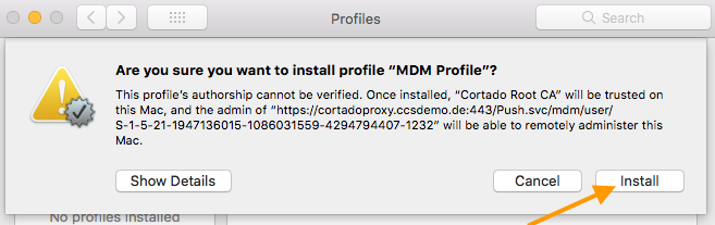 installing the MDM profile