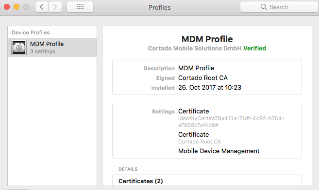 successfully installed MDM profile
