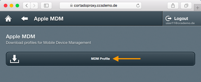 downloading certificate and MDM profile