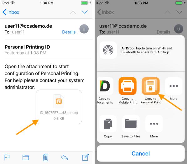 Personal-Printing-App konfigurieren (Beispiel iOS)
