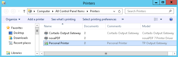 Personal Printer (here on the Mobile Print server)