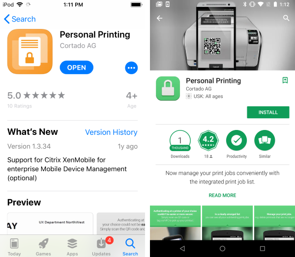 Personal Printing app in the Apple App Store (left) and in the Google Play Store (right)