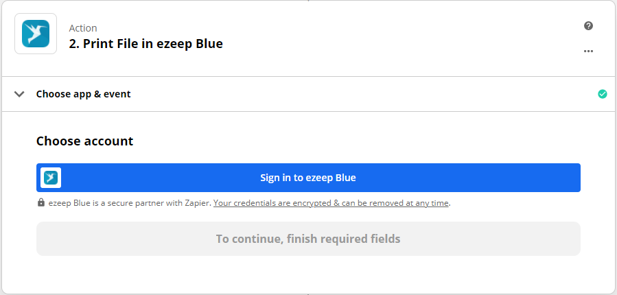 screenshot: Zapier ezeep Blue Choose account