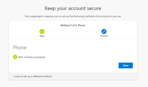 Microsoft Authenticator SMS verified