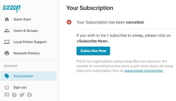 screenshot: ezeep subscription