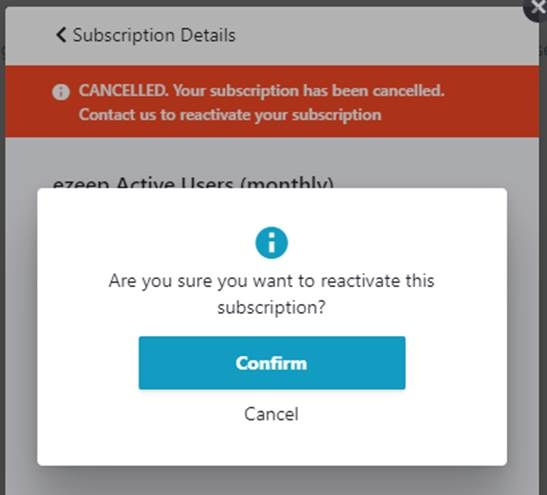 screenshot: manage subscription page - confirm