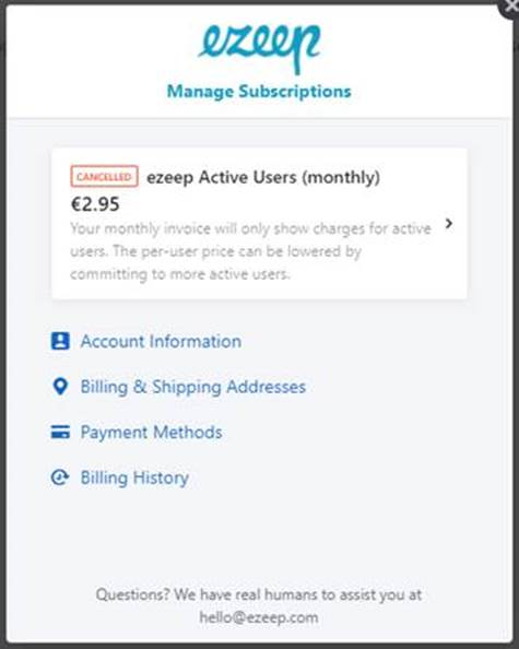 screenshot: manage subscription page