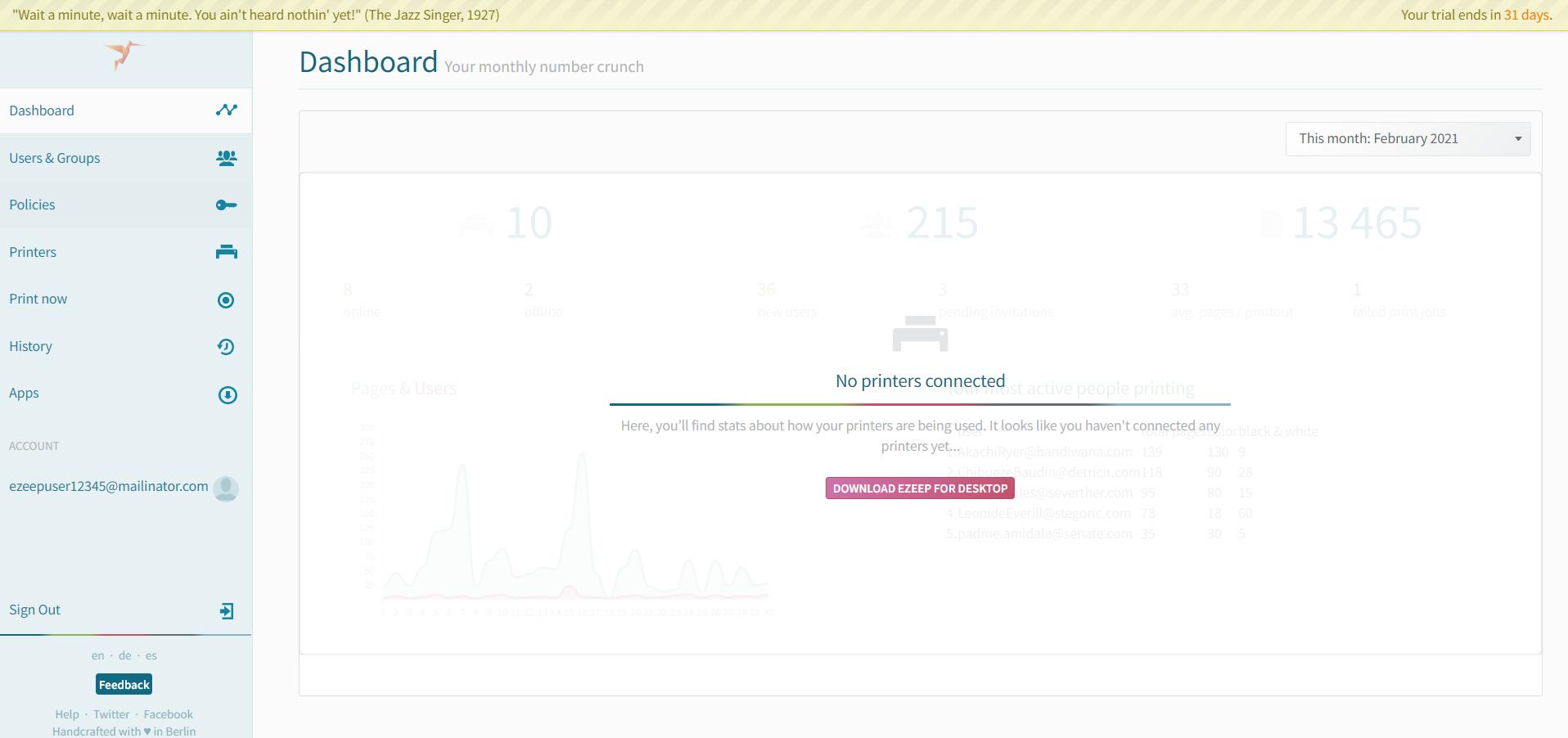 Screenshot: your new ezeep web portal