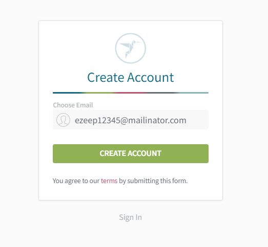 Screenshot: enter your email