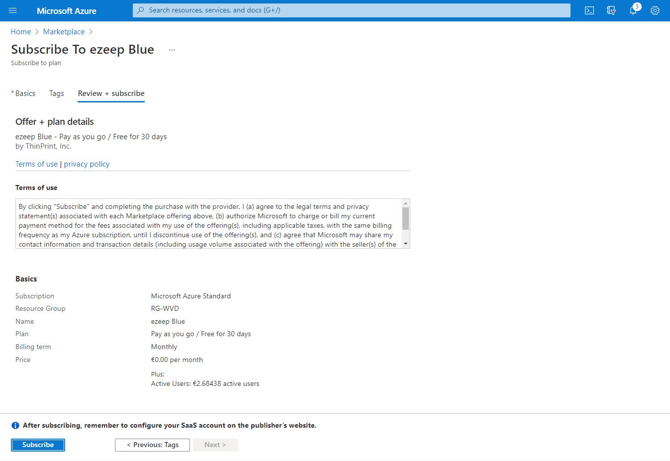 screenshot: ezeep Blue in Azure marketplace
