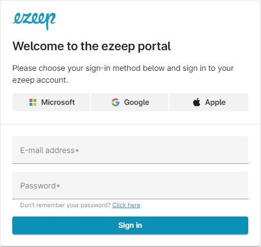 screenshot: sign in to ezeep portal