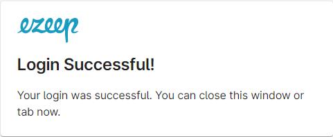 screenshot: sign in successful message