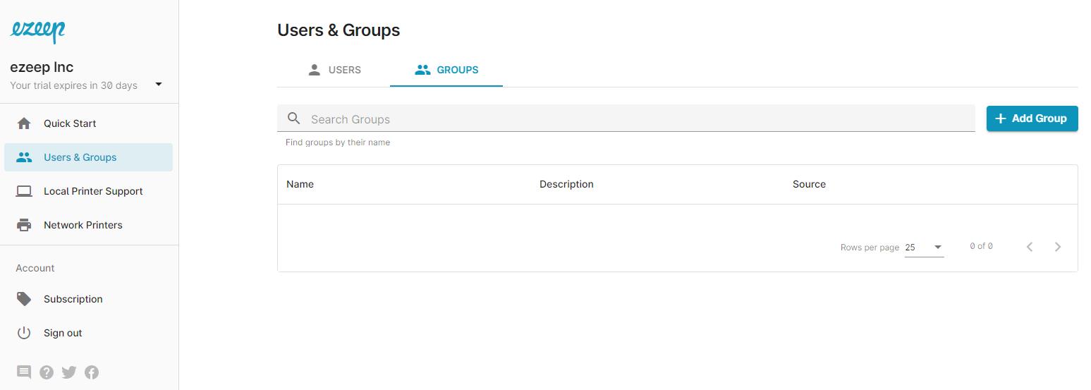 screenshot: Users & Groups in ezeep Blue admin portal