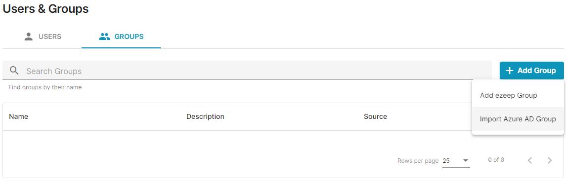 screenshot: Add Group in ezeep Blue admin portal