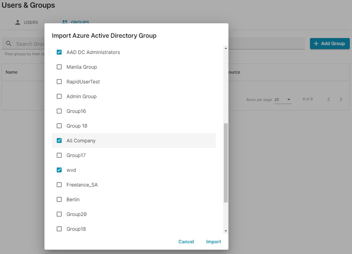 screenshot: add Azure groups in ezeep Blue admin portal