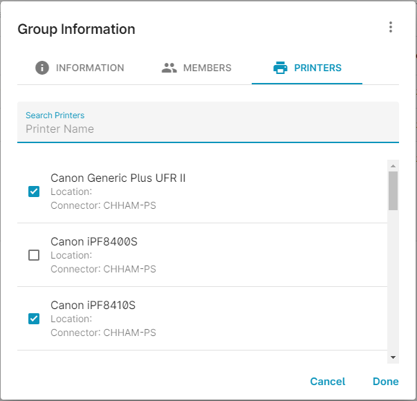 screenshot: assign printers in ezeep Blue admin portal