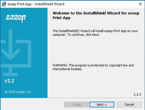 screenshot: ezeep Print App installer