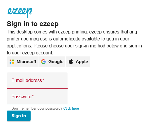 screenshot: ezeep Blue Sign in from ezeep Print App