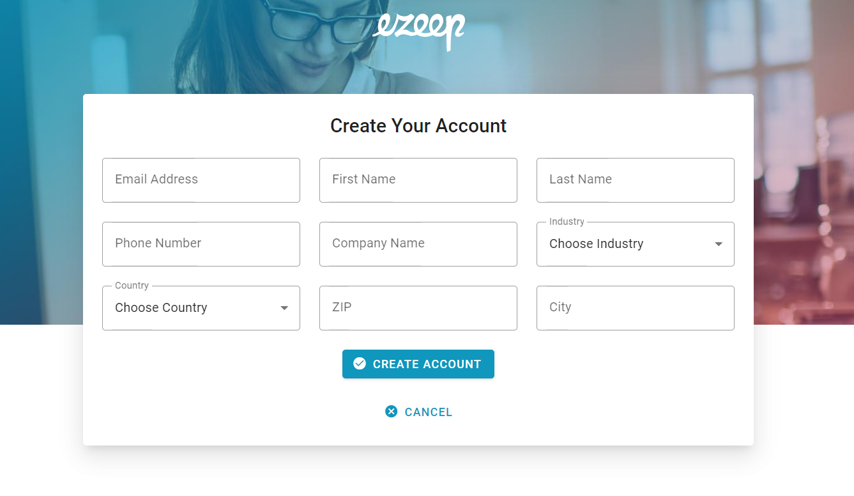screenshot: ezeep Blue signup via Azure Marketplace