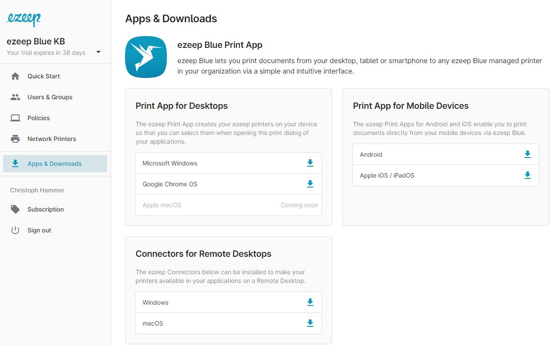 screenshot: admin portal Apps & Downloads