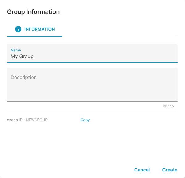 screenshot: group creation
