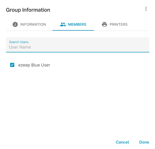 screenshot: group information members assignment