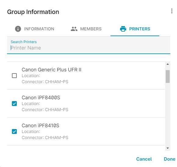 screenshot: Group information printers assignment
