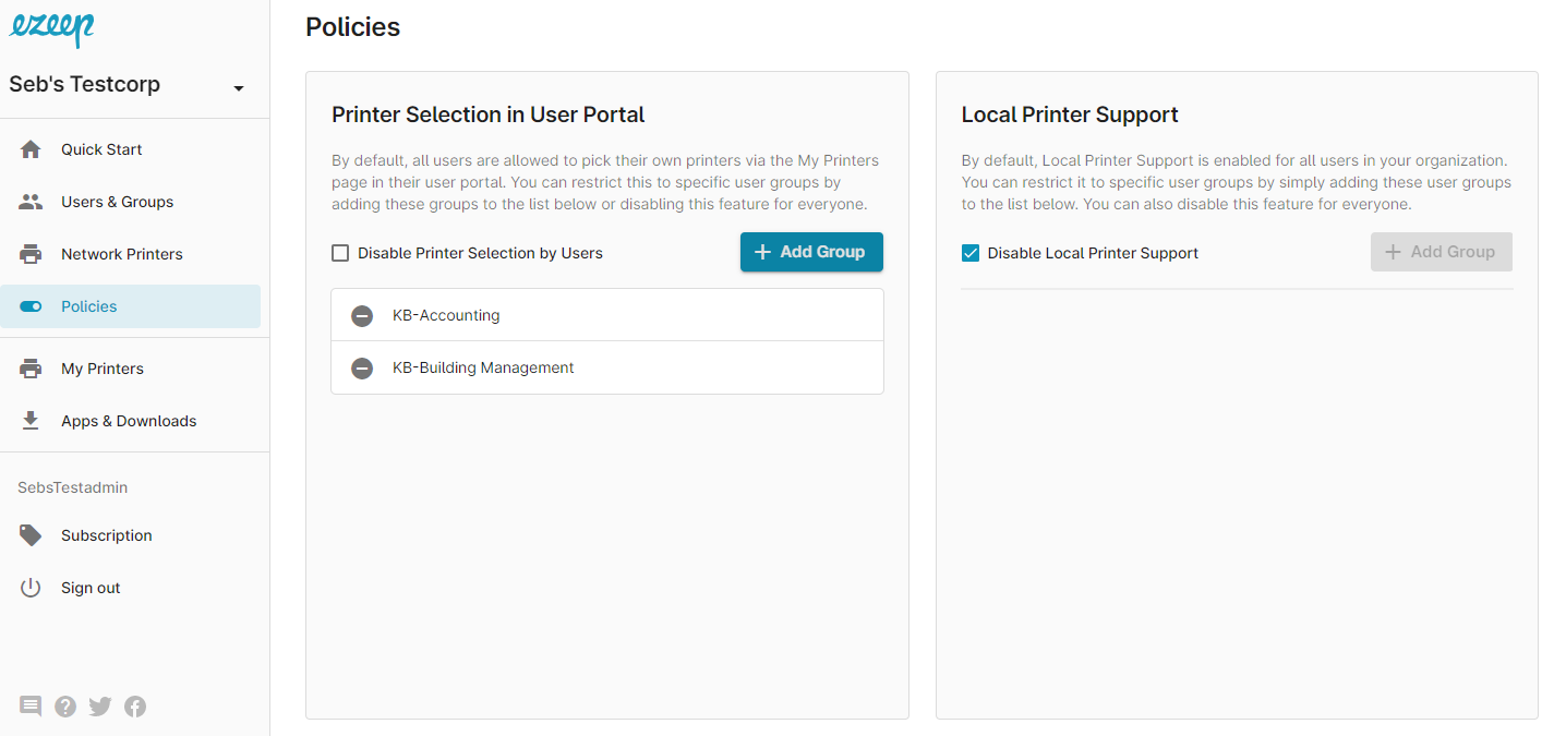 ezeep Blue Policies page with user groups