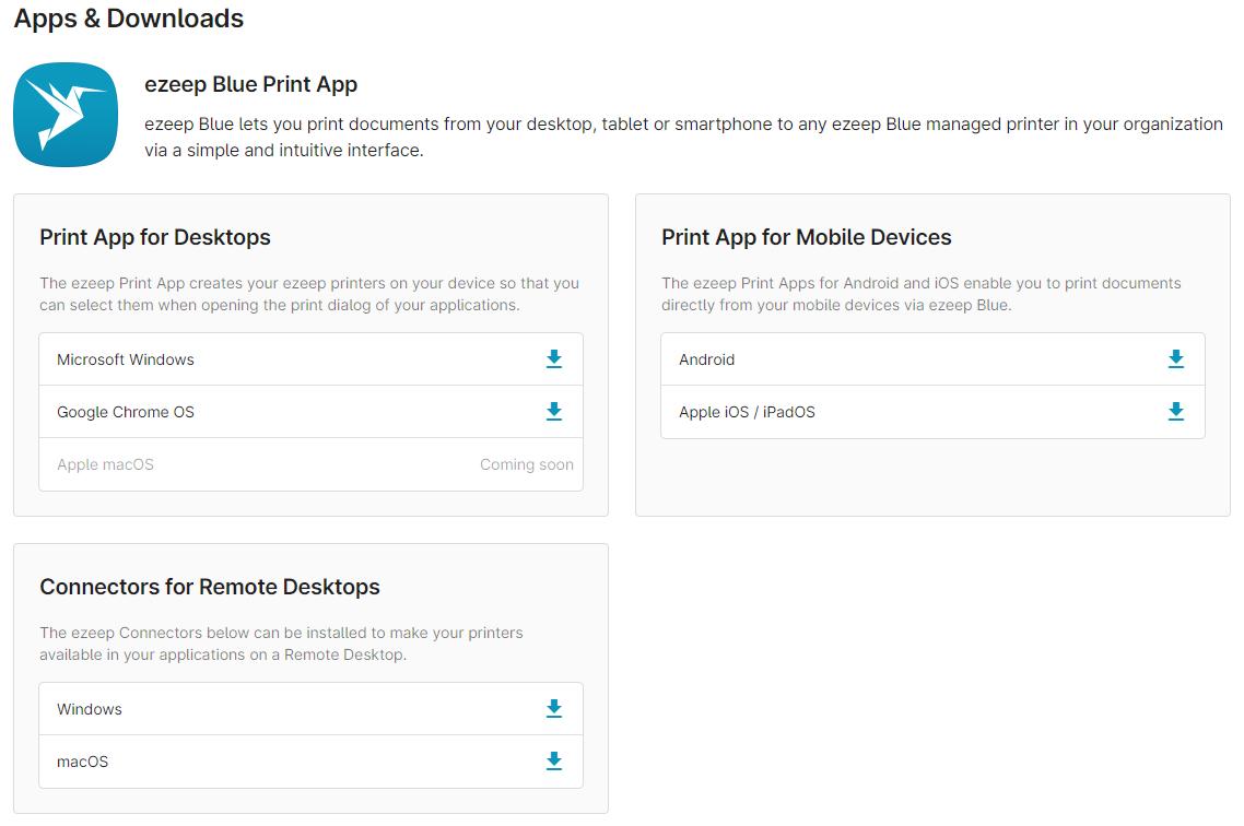 ezeep Blue user portal - Apps & Downloads page