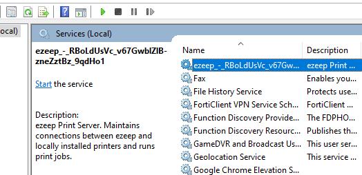 screenshot: services.msc window showing ezeep service