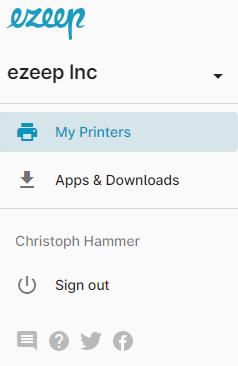 screenshot - ezeep Blue user portal