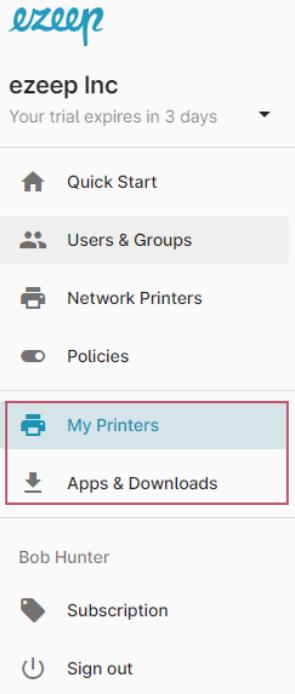 screenshot - ezeep Blue admin portal with user portal view