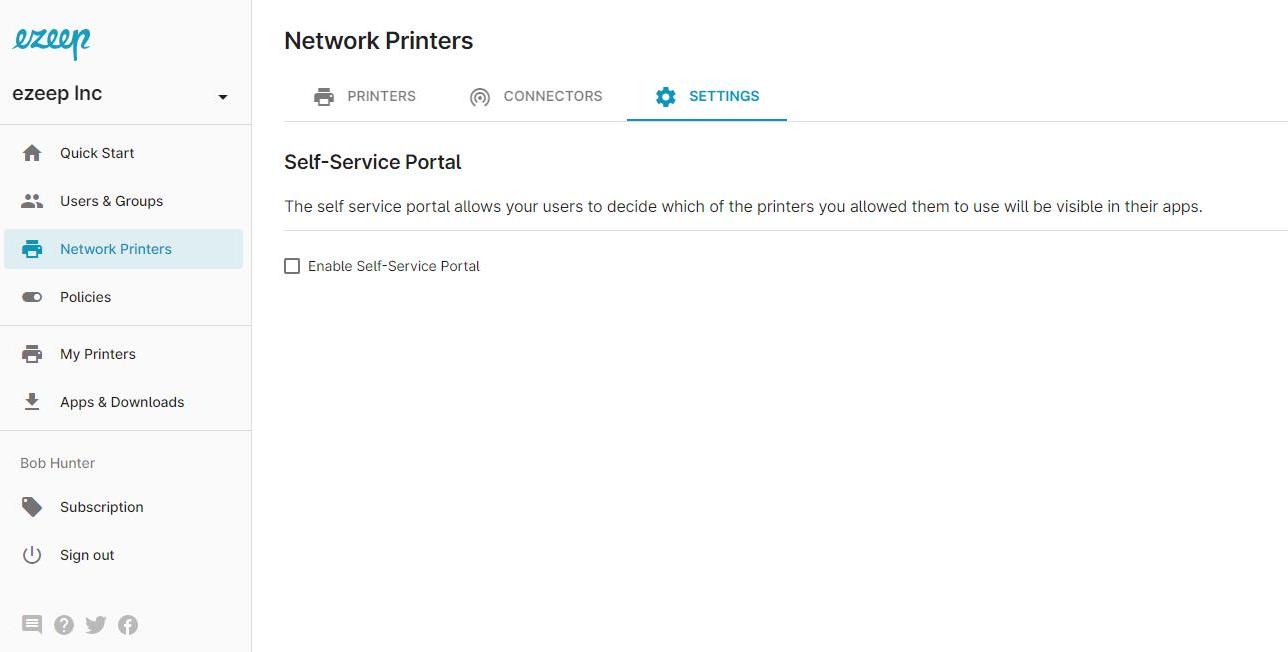 screenshot: enable self service portal in admin dashboard