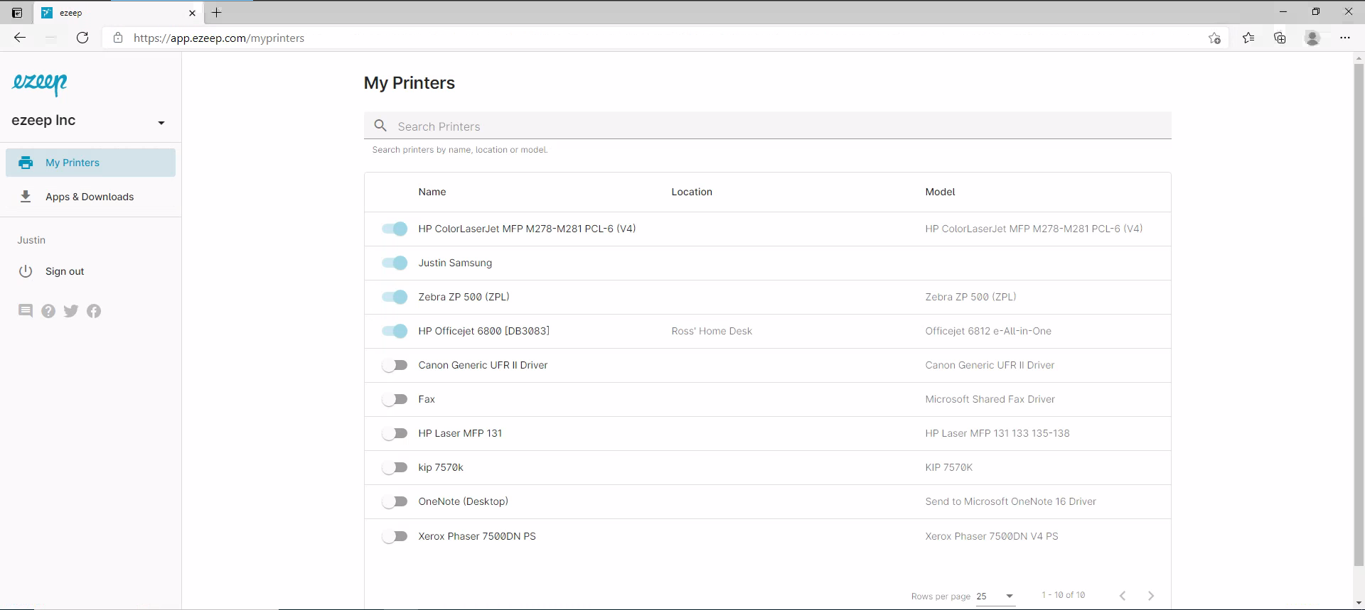 screenshot: my printers page in user portal