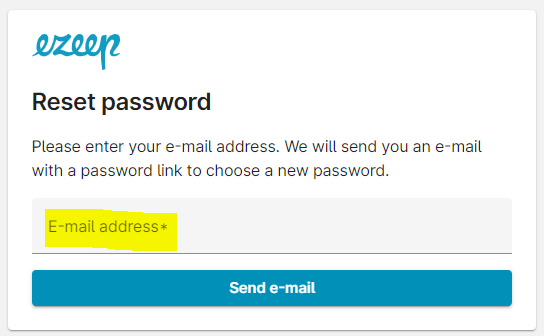 Email address for password reset