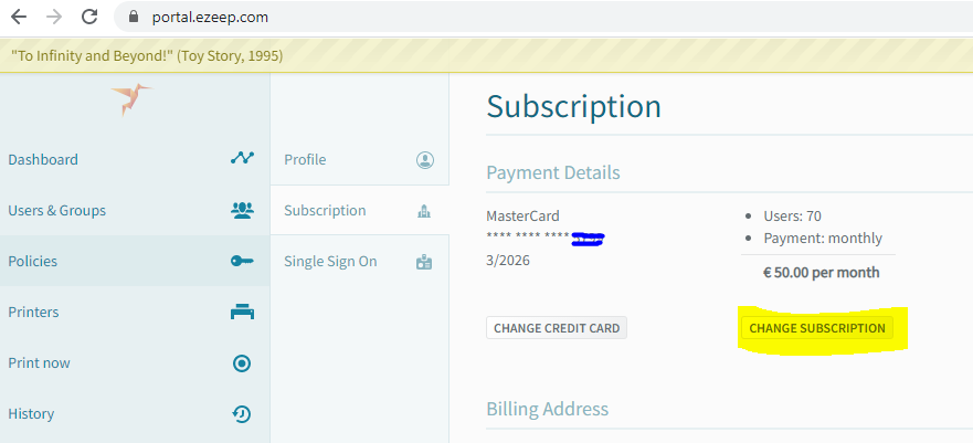 Credit Card Shows in Subscription tab