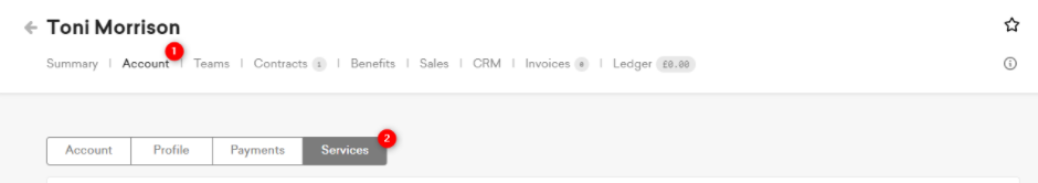 screenshot: user page in nexudus