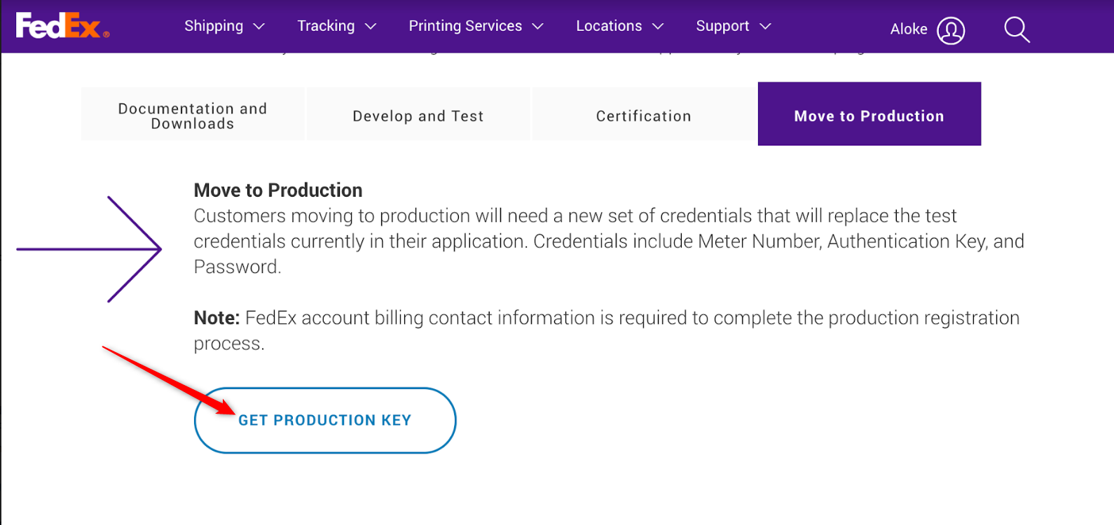 How To Get FedEx Web Services Production Credentials : Customer