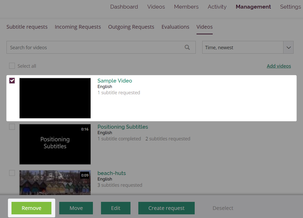 Management videos page with one video selected and the Remove button highlighted in the slide-up menu