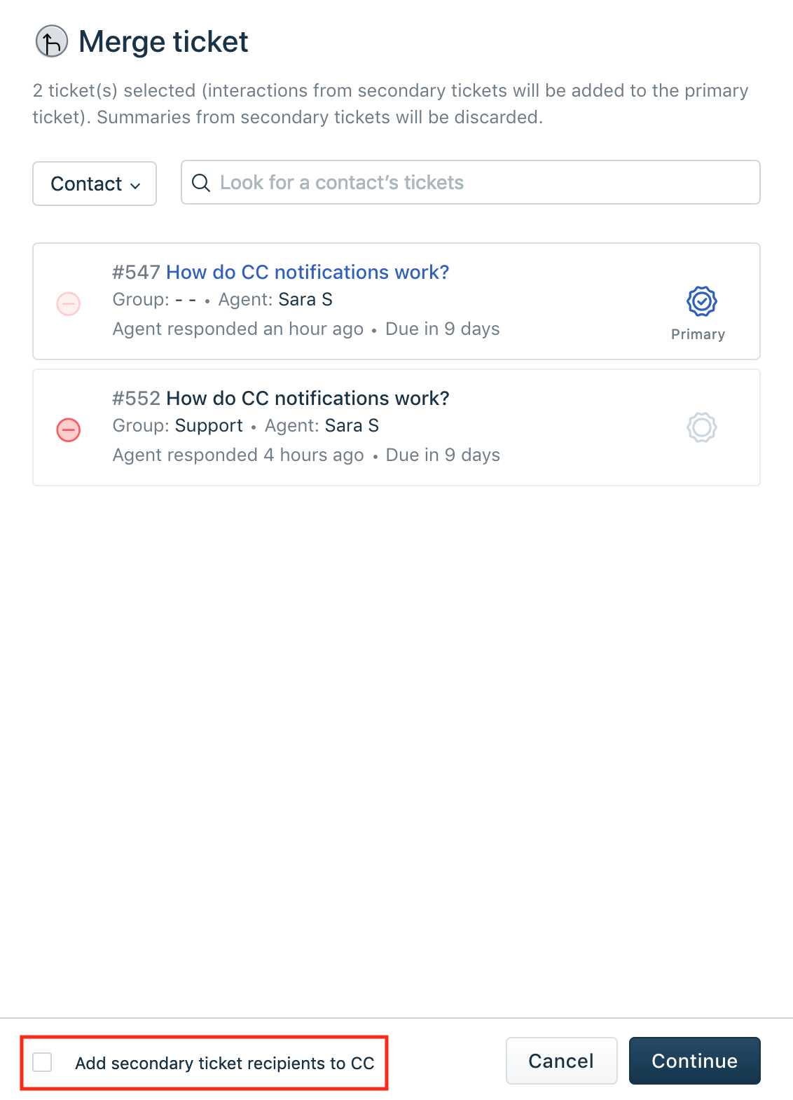 Merging two or more tickets together : Freshdesk