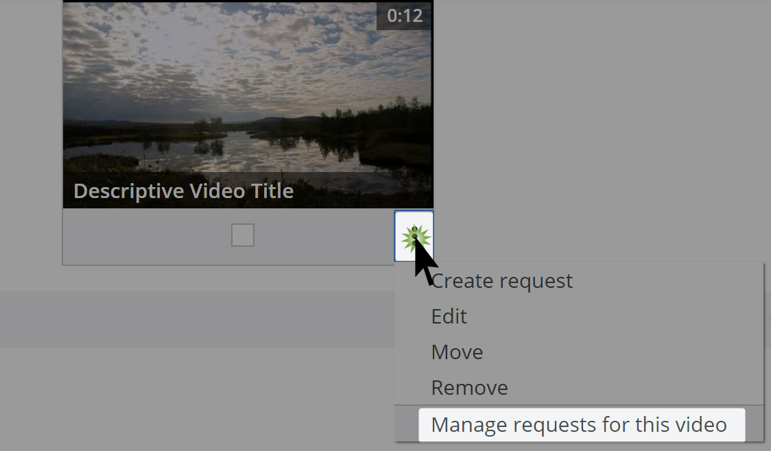 Manage subtitle requests option in video dropdown menu on videos management page