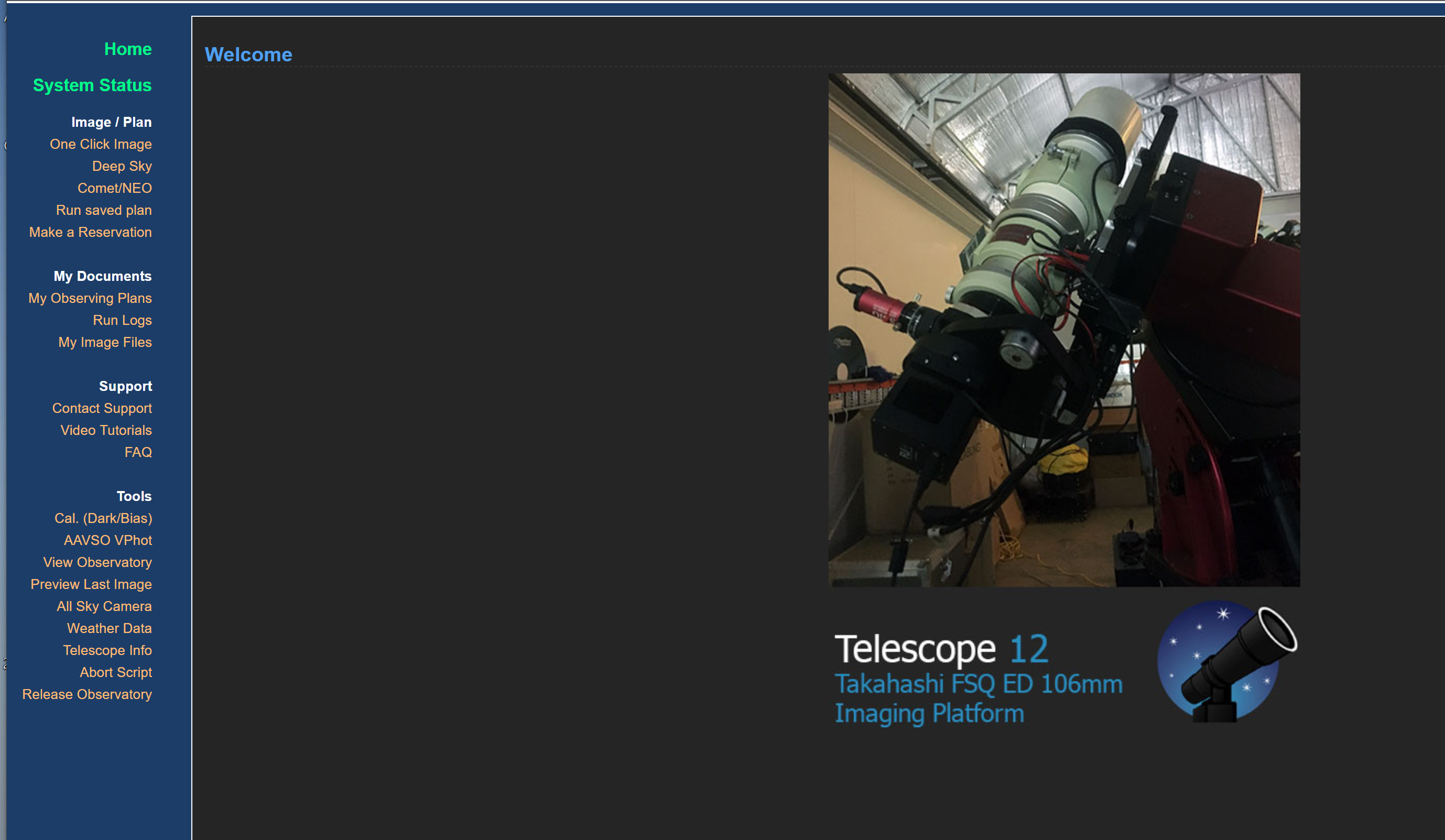 Taking a One Click Image : iTelescope Net Support
