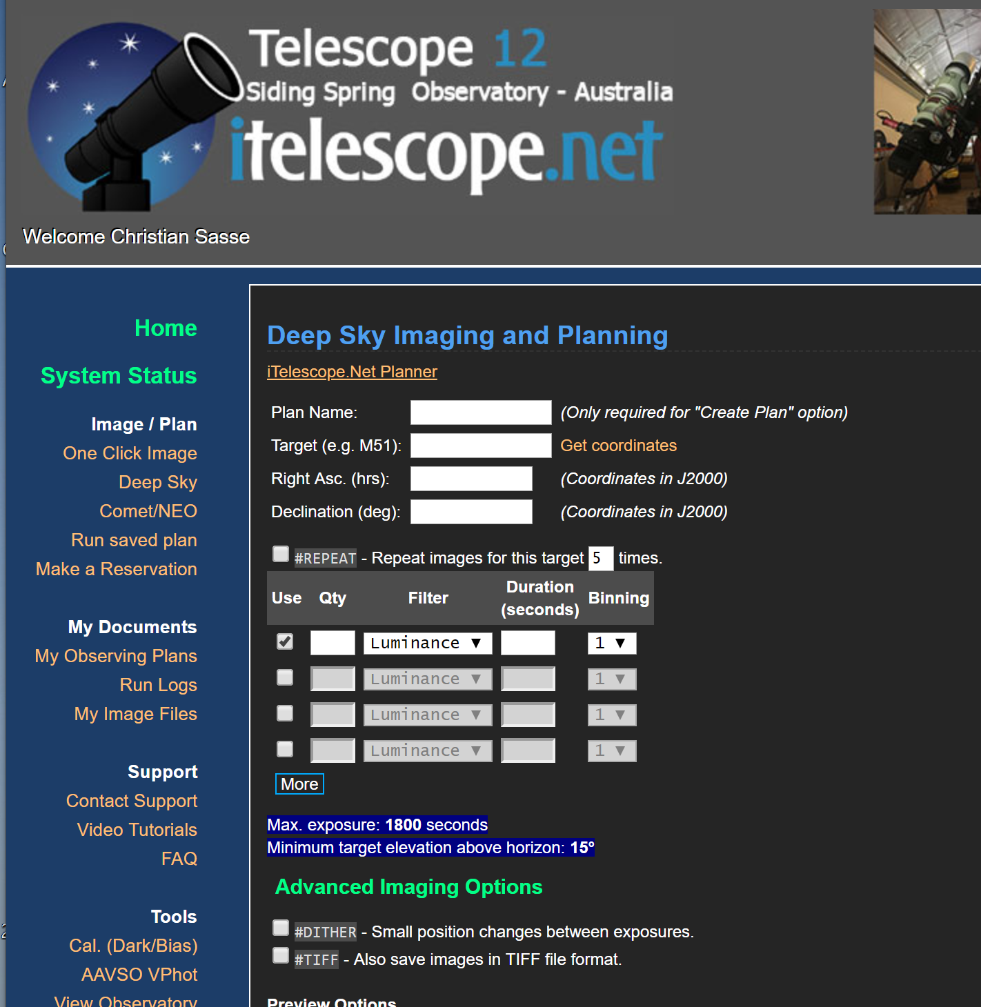 How do I take an Image or several Images? : iTelescope Net Support