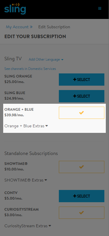 image of edit subscription screen with Sling Orange + Sling Blue highlighted