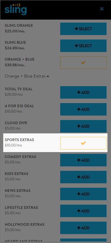 image of change subscription with sports extras highlighted