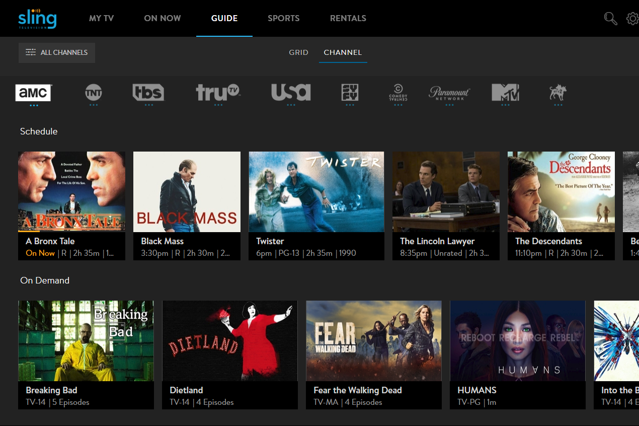 image of channel guide with available VOD options